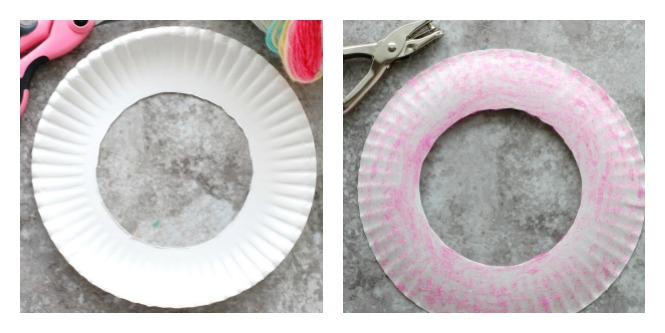 Paper Plate with hole cut out of center for Dream Catcher