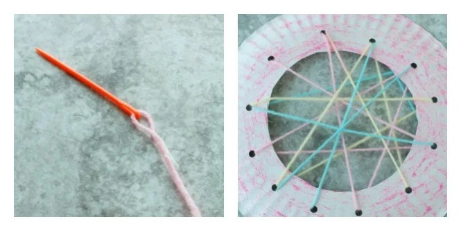 Needle with yarn going through paper plate