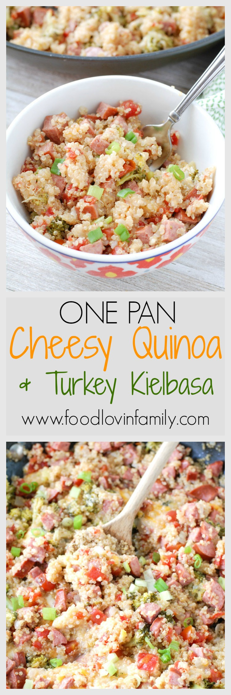 It doesn't get any easier than one pan. This dish is full of flavor with turkey kielbasa, tomatoes with green chilies, broccoli and CHEESE.