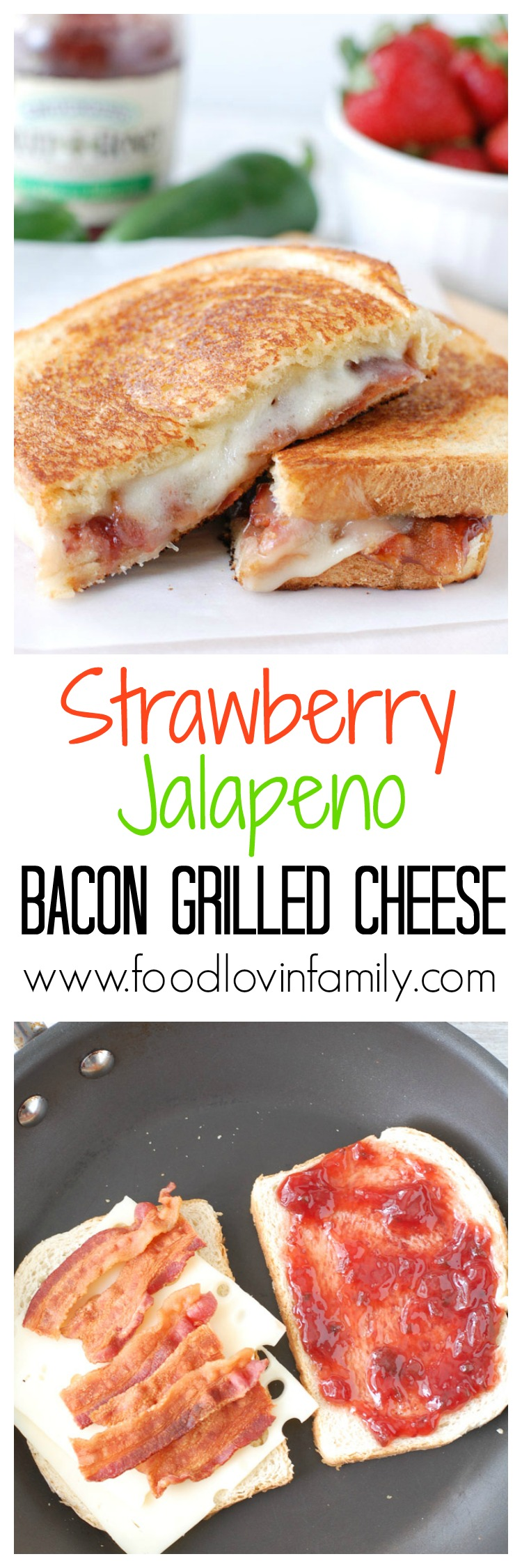 This Strawberry Jalapeno Bacon Grilled Cheese Sandwich is a crunchy, gooey combination of savory, sweet, and salty with just a touch of heat. To the delight of taste buds everywhere, sourdough bread, bacon, Swiss cheese and strawberry jalapeno fruit spread join together to create this tasty sandwich!