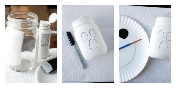 Steps to making ghost mason jar. Jar, paint, sharpie