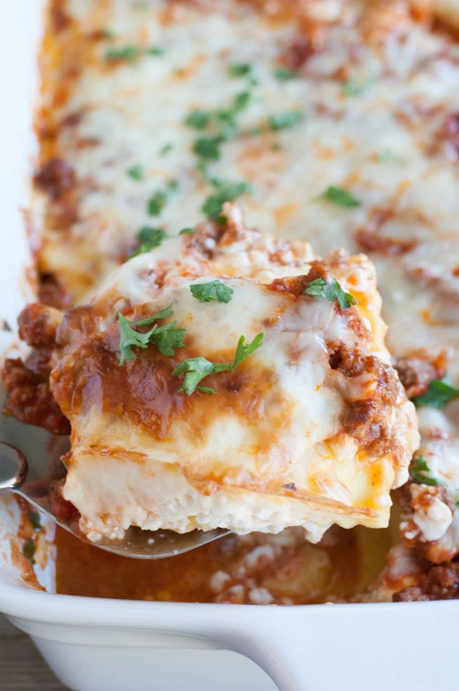 Baked Ravioli Lasagna on a spatula