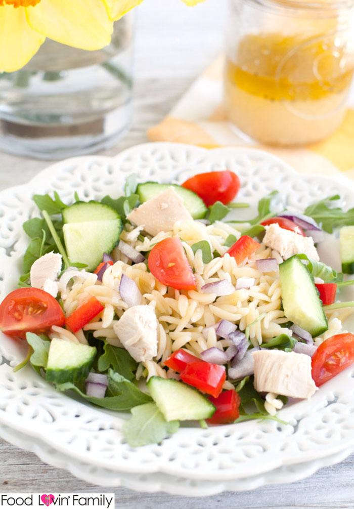 Chicken Orzo Pasta with Lemon Vinaigrette Salad
