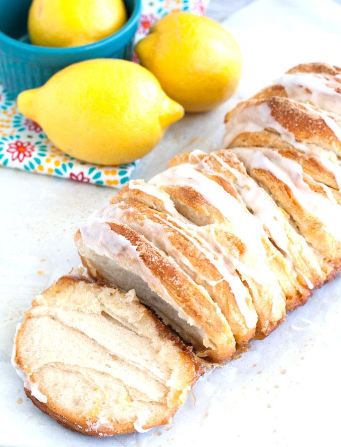easy lemon pull-apart bread opened up