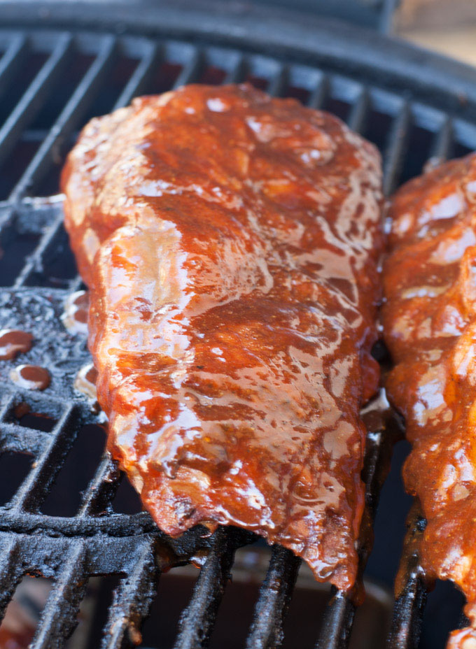 Cherry Cola Grilled Ribs On Grill