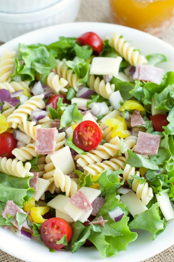 Italian Sub Pasta Salad in a large bowl