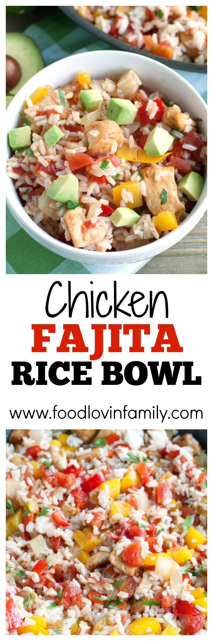 Chicken Fajita Rice Bowl - fajita seasoned chicken mixed with peppers, onions, RO*TEL and cilantro lime rice. A bold and flavorful meal the family will love. PIN