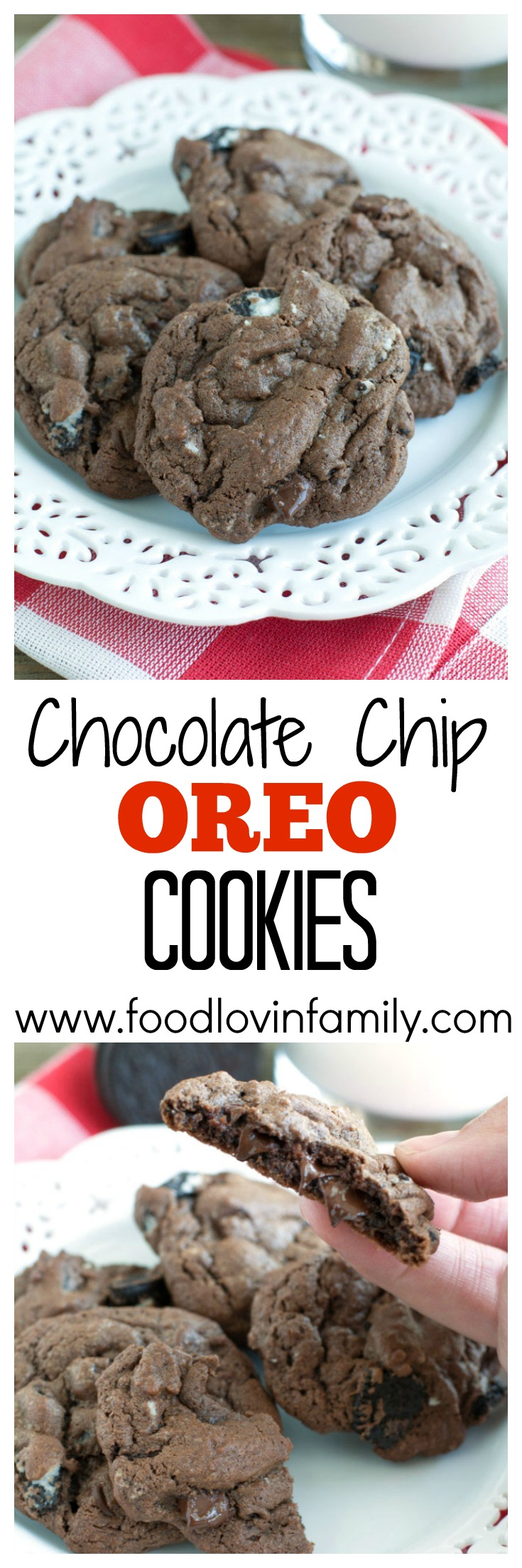 Chocolate Chip Oreo Cookies - Rich chocolate cookies full of chopped Oreo cookies and chocolate chips. PIN