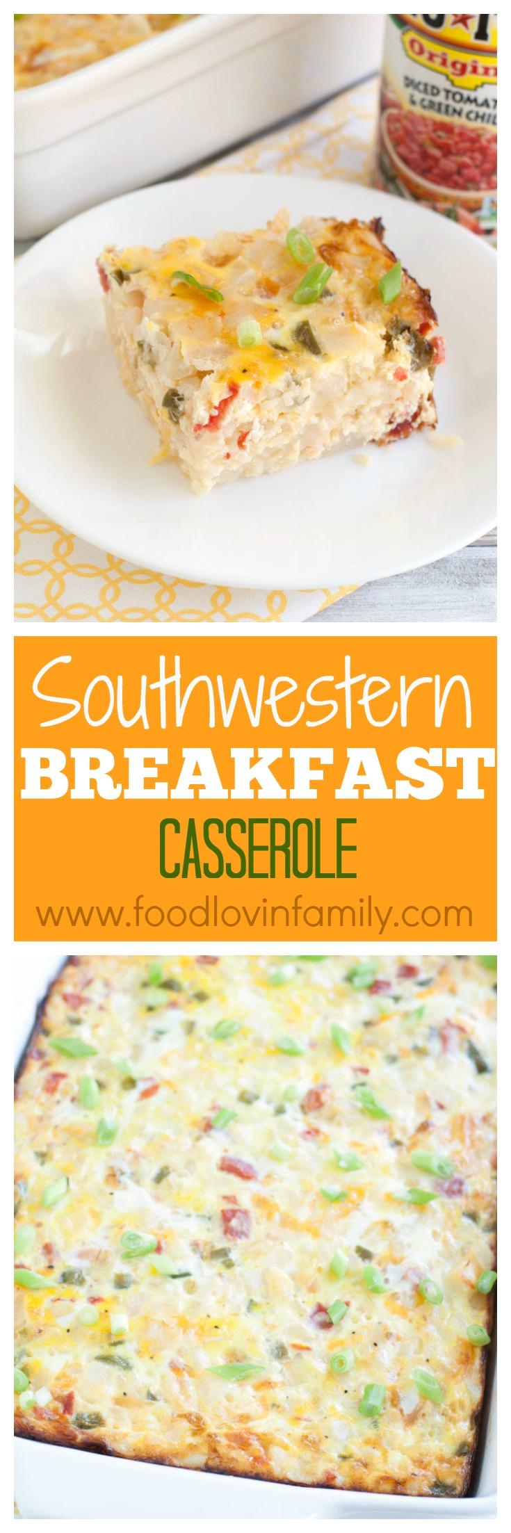 Breakfast casserole on a plate.