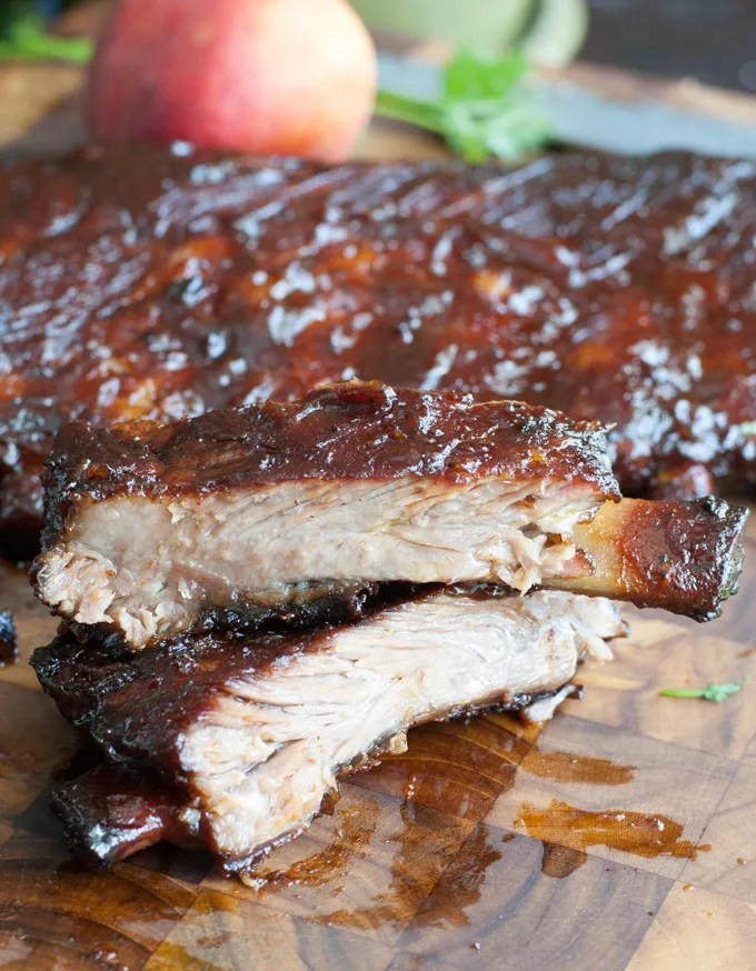 Peach Honey BBQ Ribs Off the Bone