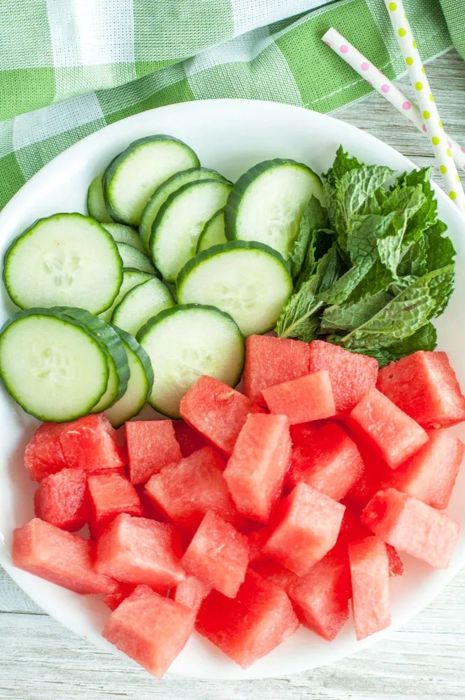 Watermelon Detox Water is a refreshing way to cool off while enjoying the added benefits of watermelon, cucumber and mint. Ingredients