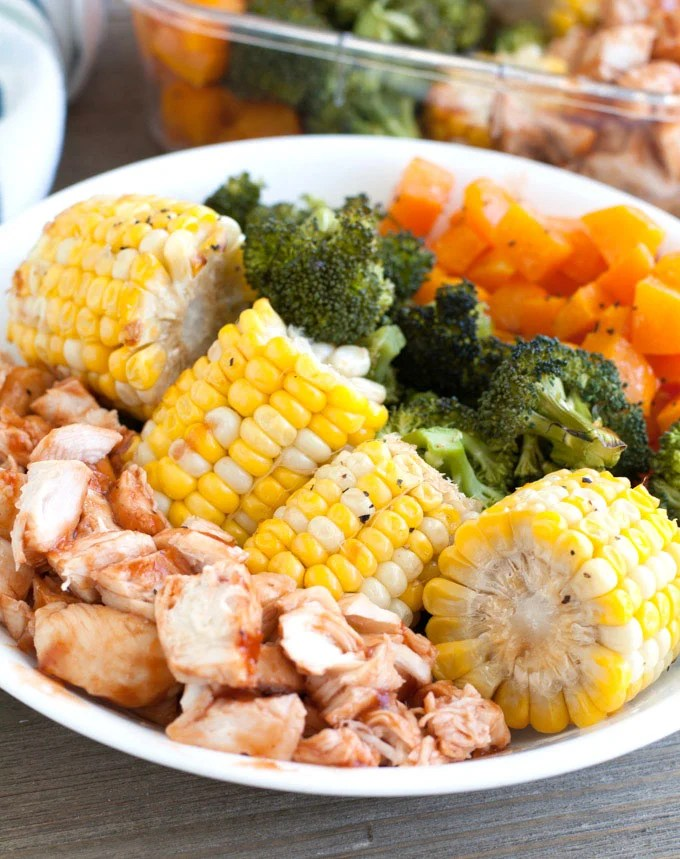 Plate with corn, chopped chicken, broccoli and squash.