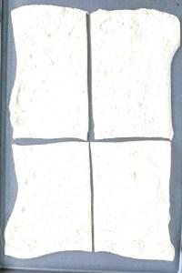 pizza dough cut into 4 rectangles