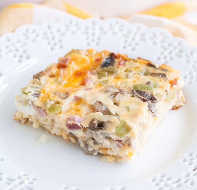 A piece of Western Omelet Breakfast casserole on a plate