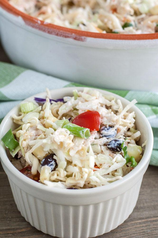 Ramen Noodle Taco Salad in a small bowl