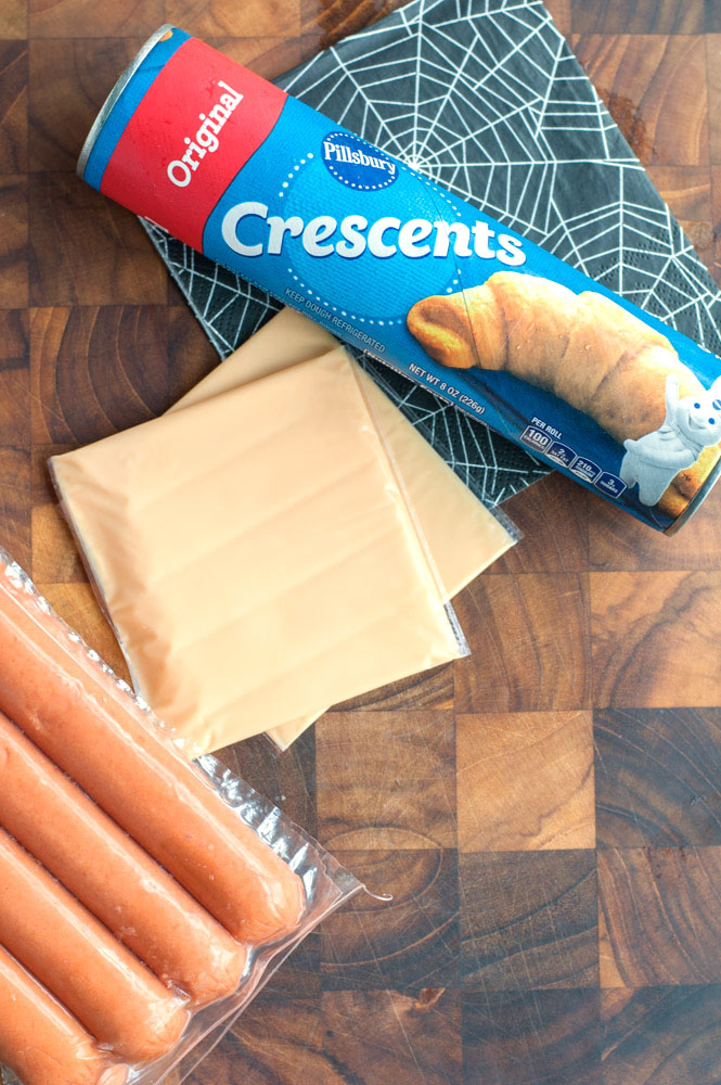 crescent mummy hot dogs ingredients hotdogs, cheese, crescent rolls