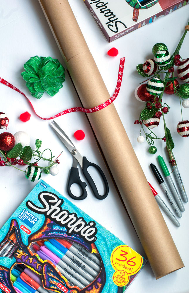 gift wrapping with sharpie