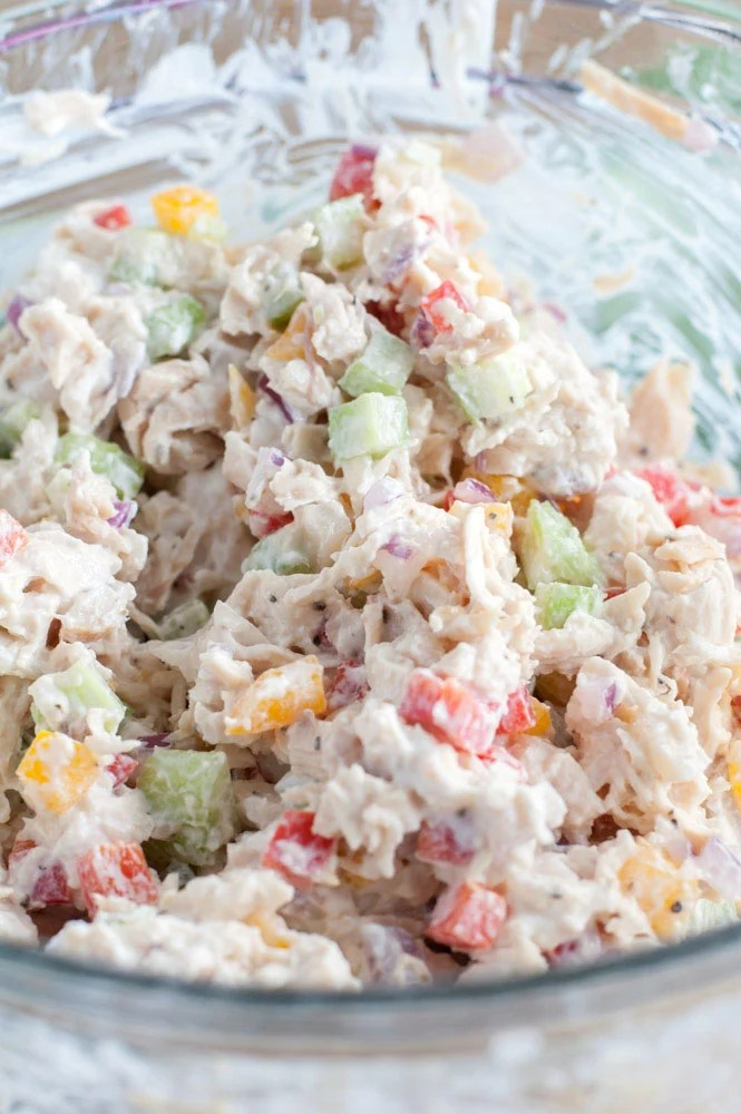 healthy meal prep recipes - Chicken salad mixture in a glass bowl