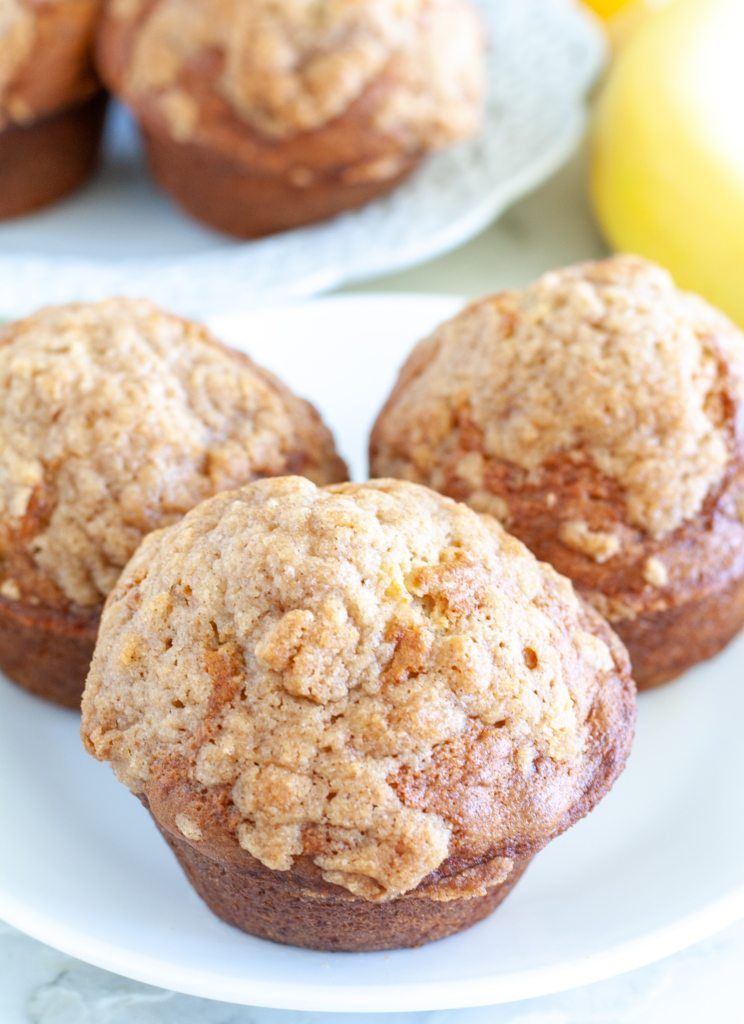 Three muffins on a plate