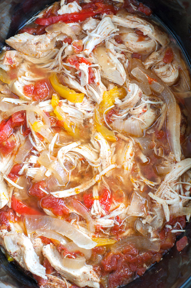 Chicken and peppers in a crockpot