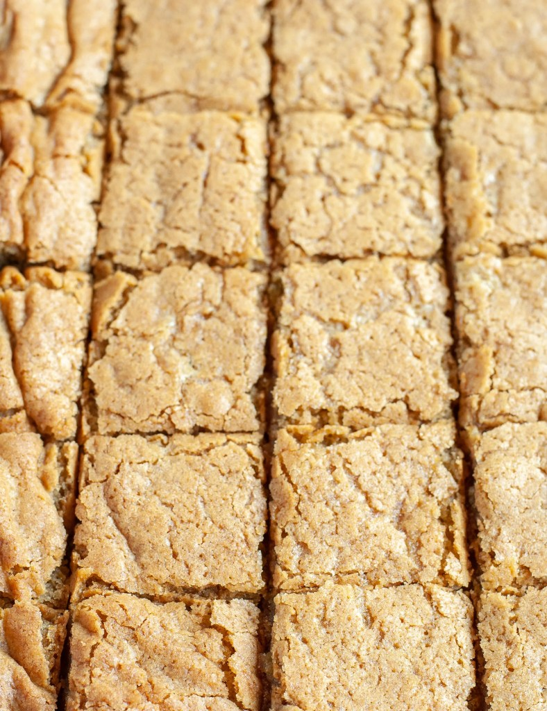 Butterscotch brownies cut into squares