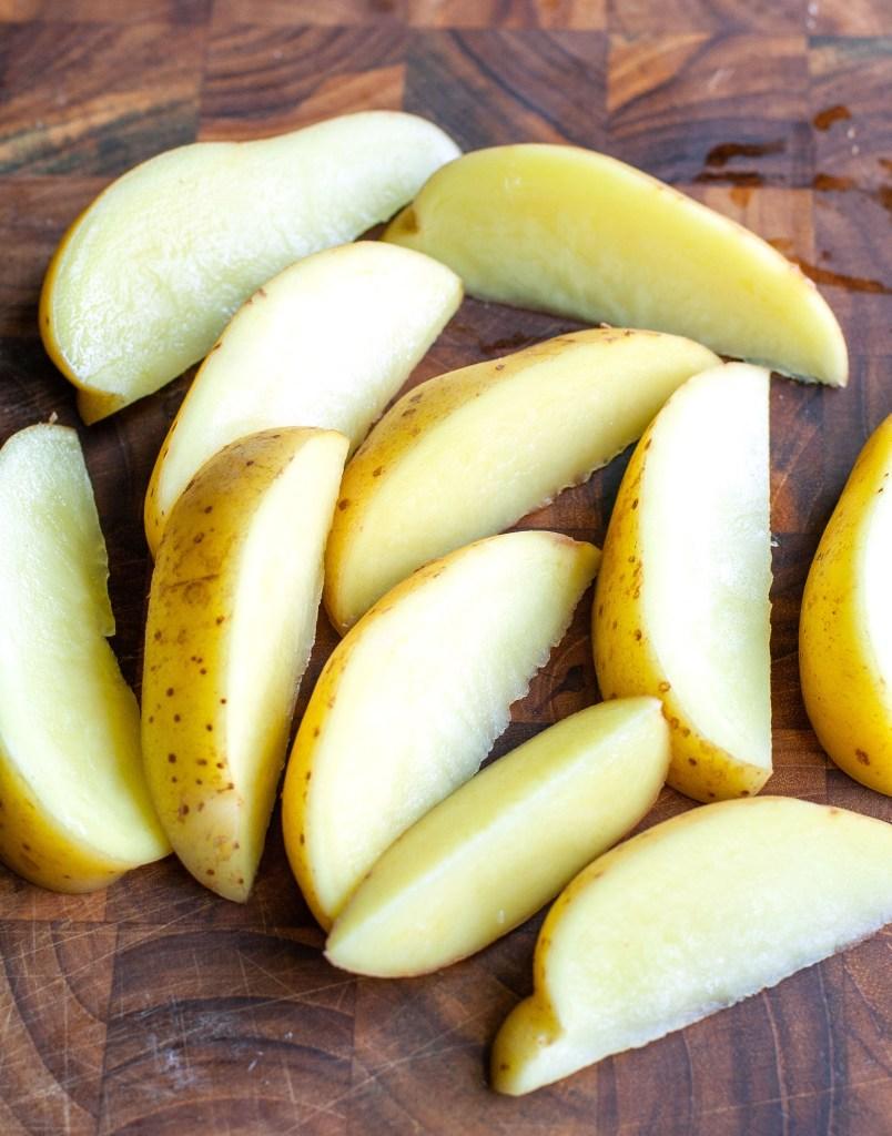 Potatoes sliced in wedges