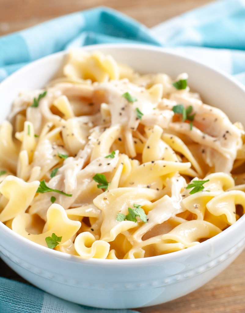 Chicken and Noodles recipe in a bowl with parsley