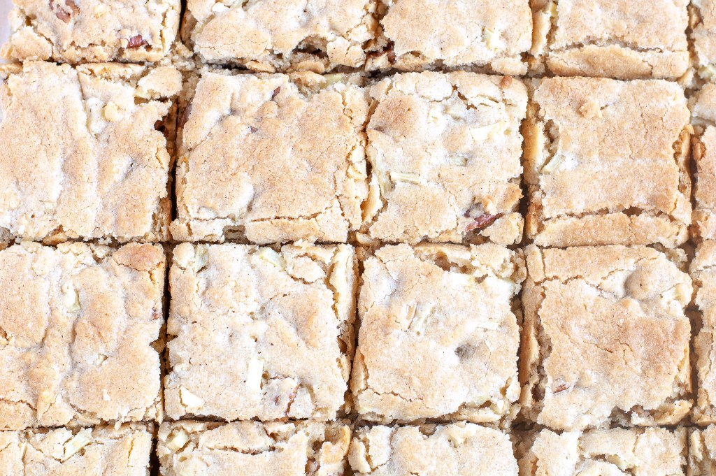 Cinnamon Apple Nut Blondies cut into squares