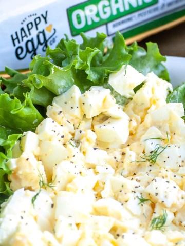 Egg salad in lettuce.