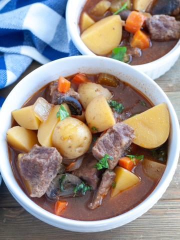 Beef stew in a bowl.