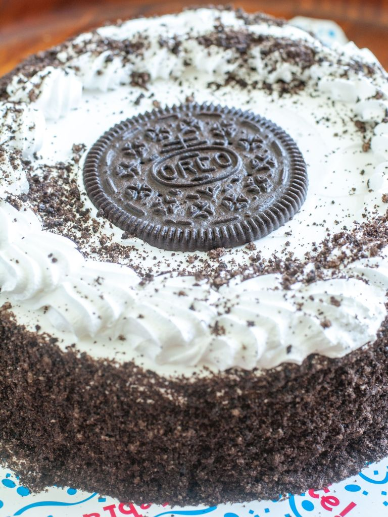 Oreo ice cream cake on a platter