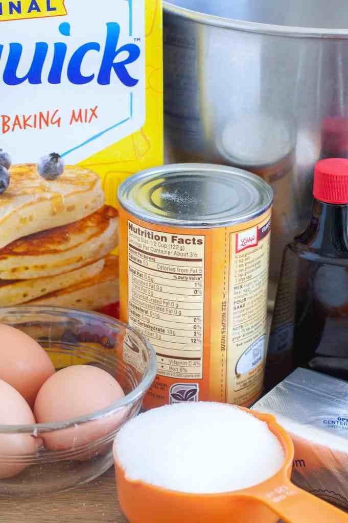 Ingredients for Pumpkin Cheesecake, Bisquick, pumpkin can, eggs, sugar, cream cheese