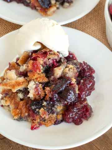 plate with cherry dump cake