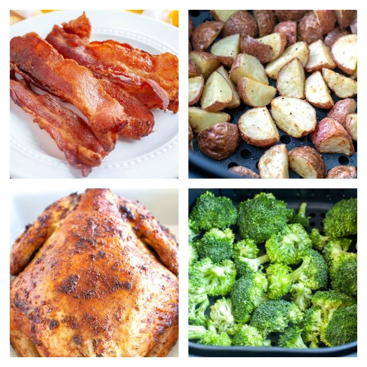 Picture of air fried chicken, air fried bacon, air fried potatoes and air fried broccoli