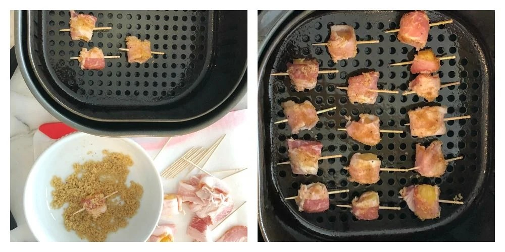 2 photo collage, air fryer basket with bacon wrapped pineapple and bowl with brown sugar and bacon wrapped pineapple