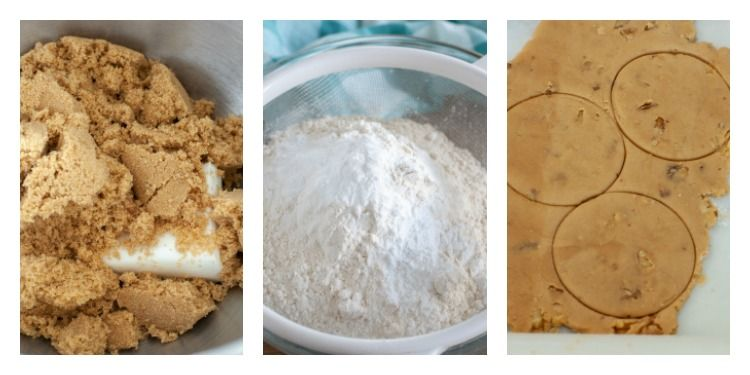 3 pictures, mix bowl with brown sugar and shortening, bowl of flour and rolled out dough