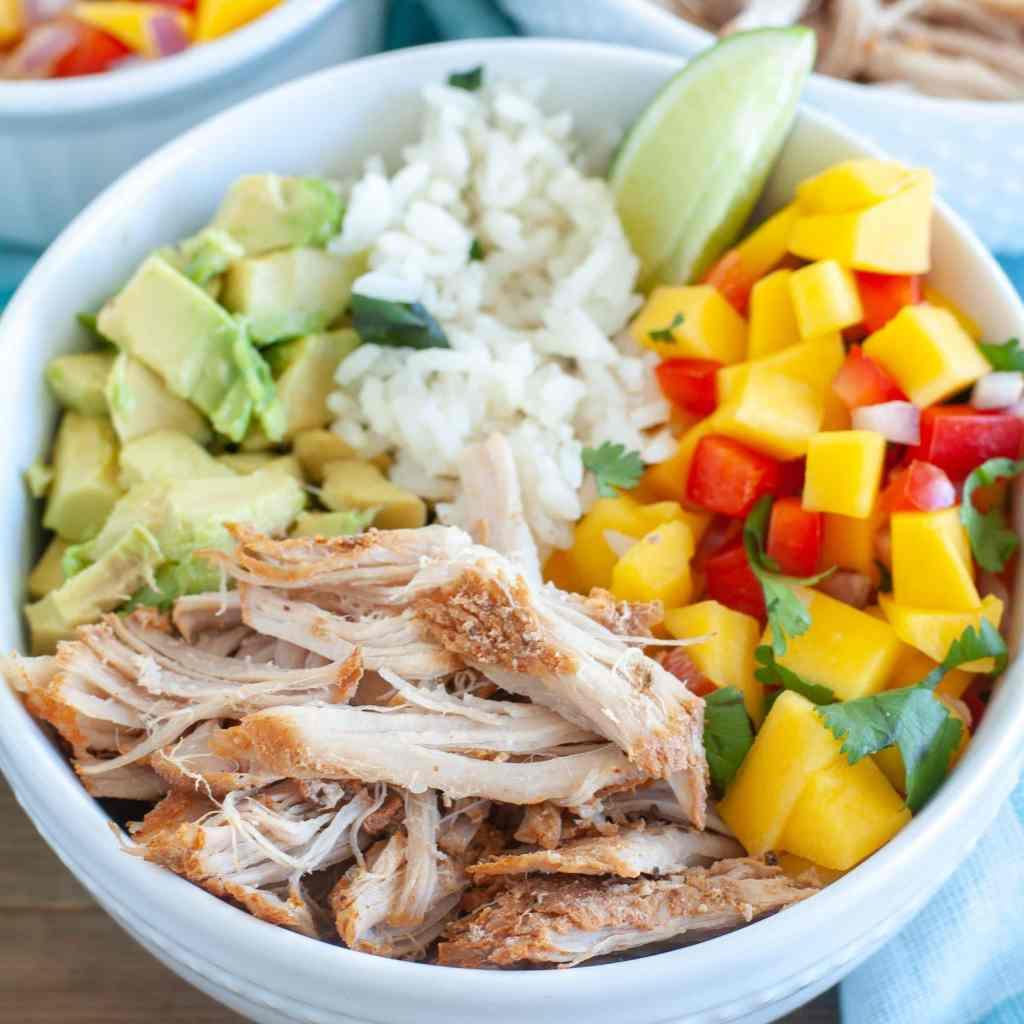 Bowl with shredded carnitas, mango salsa, rice and avocado