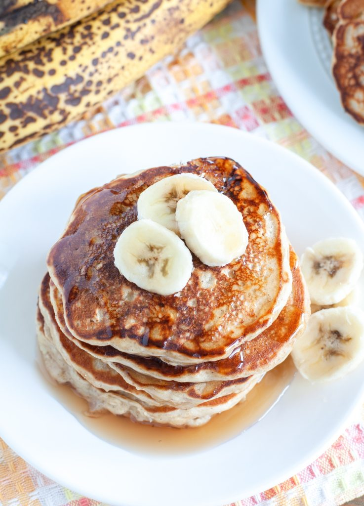 stack of banana oatmeal pancakes