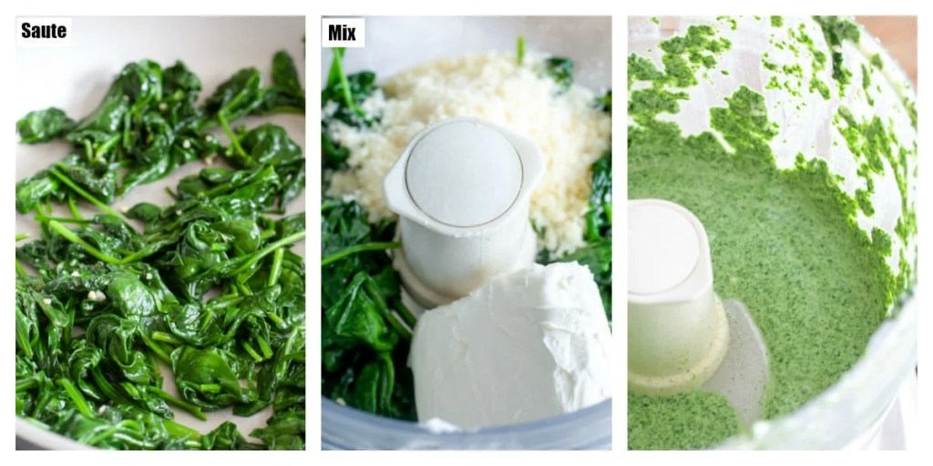 sauteed spinach, cream cheese spinach in a food processor, ingredients mixed