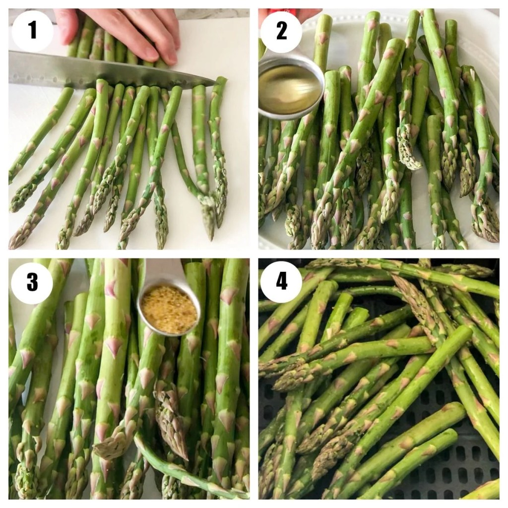 cut asparagus with oil, lemon pepper and in fryer basket