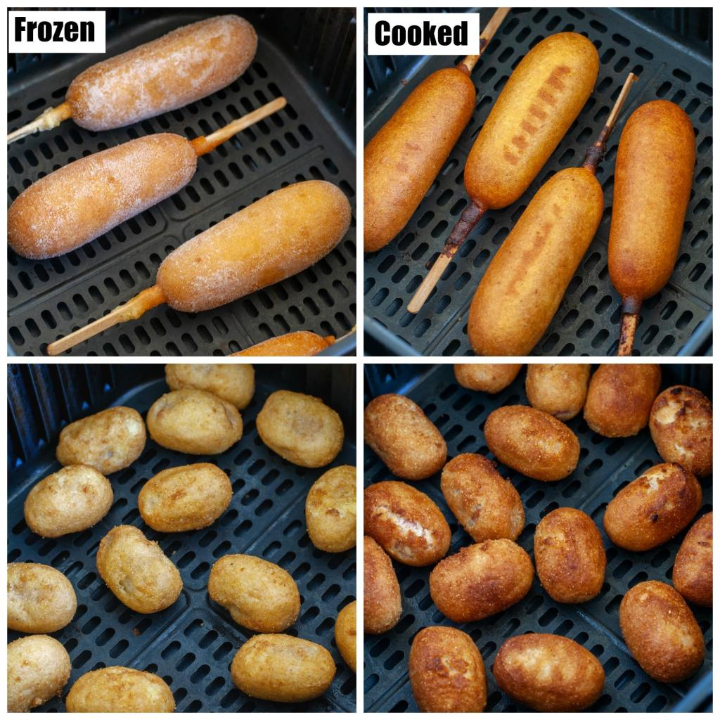 Frozen and cooked corn dogs