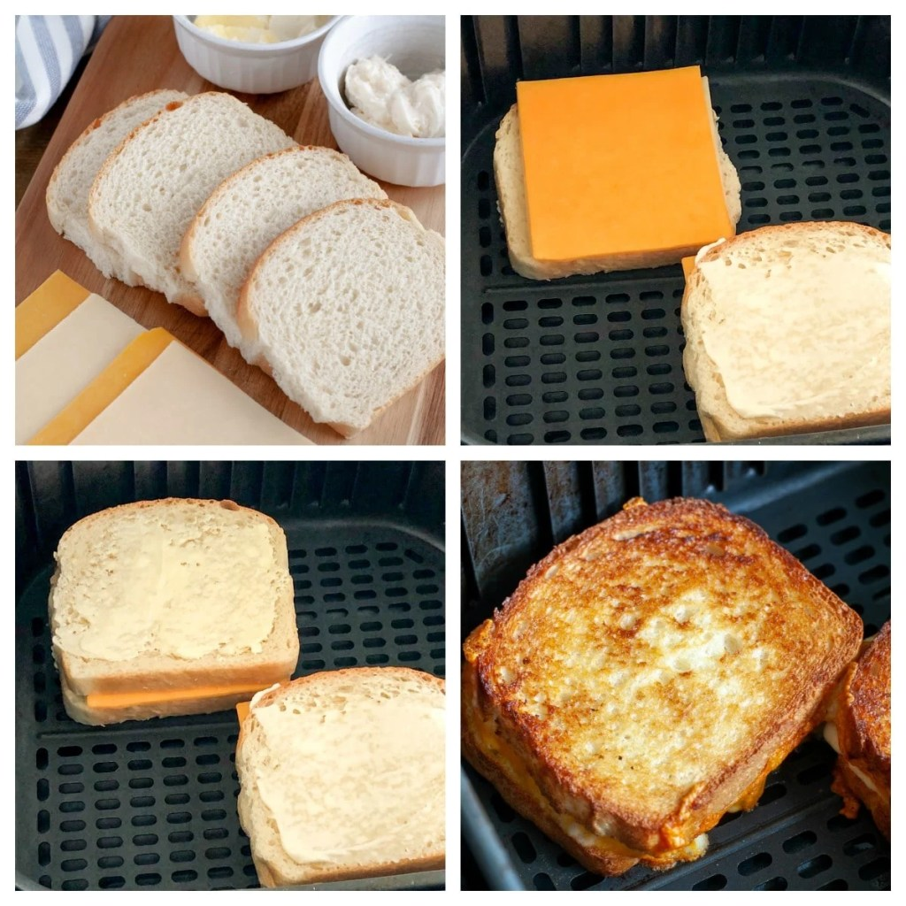buttered bread in air fryer basket with cheese on top and then cooked sandwich