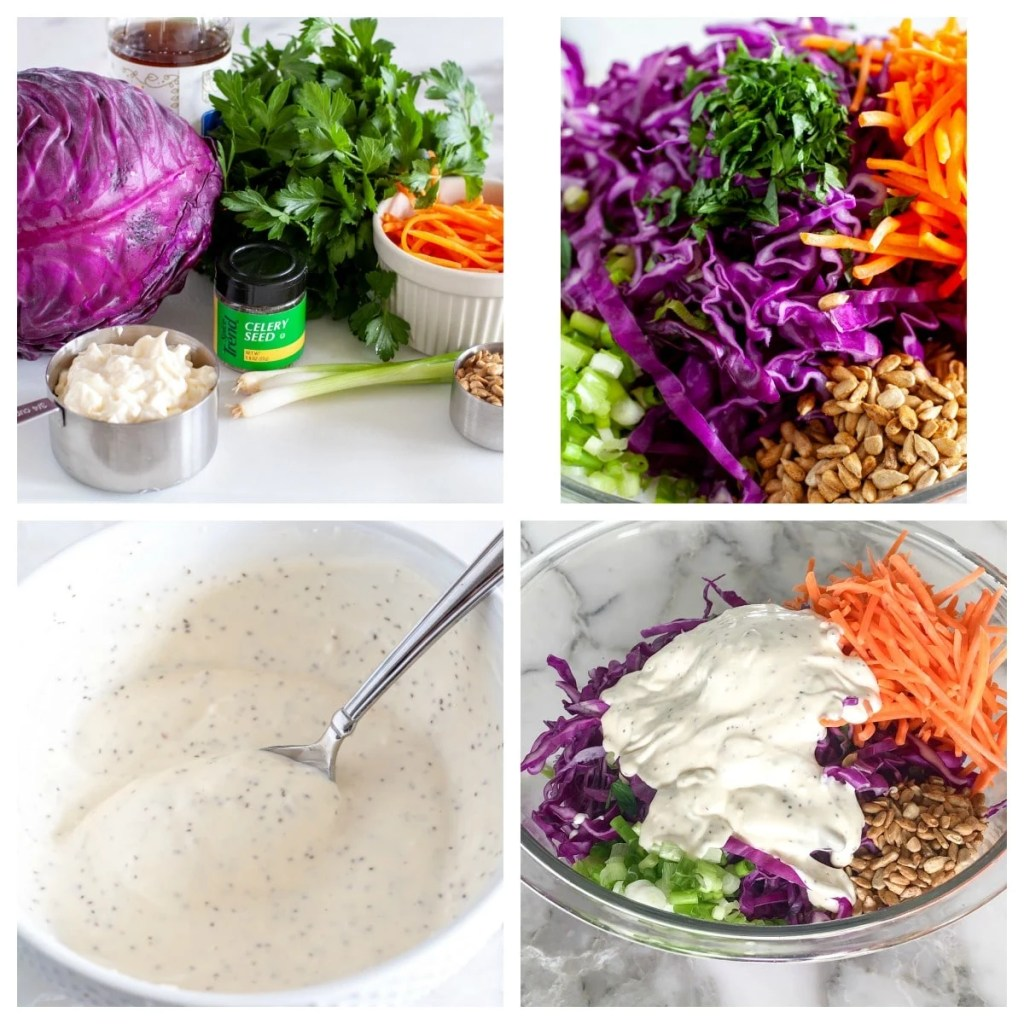 red cabbage, carrots, parsley, onions, on counter, chopped in a bowl and with dressing