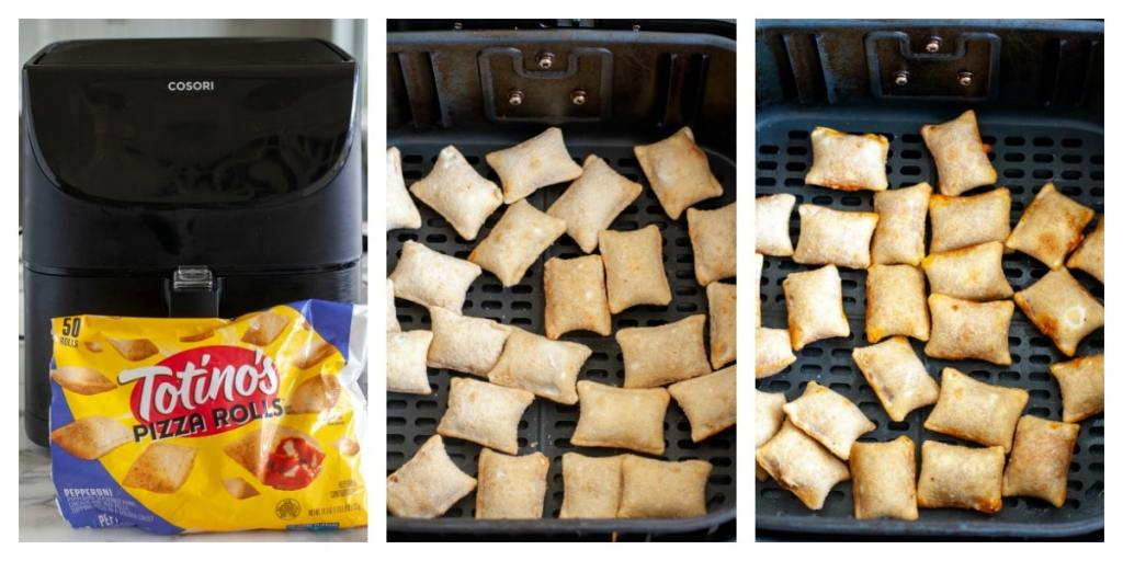 Pizza rolls in air fryer basket, frozen and cooked
