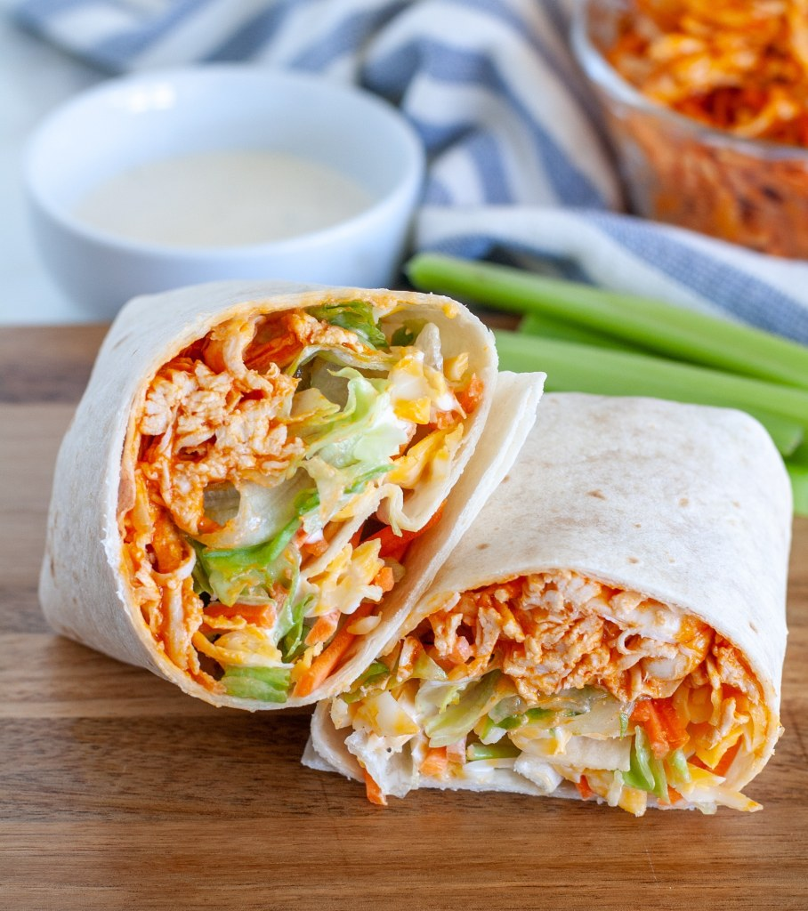 buffalo chicken wrap cut in half