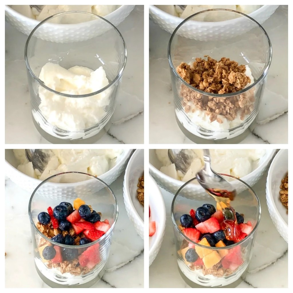 Cup with yogurt, granola, fruit and honey