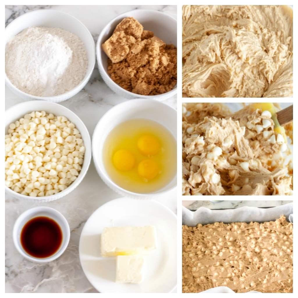 Flour, brown sugar, white chocolate chips eggs, butter, vanilla, batter