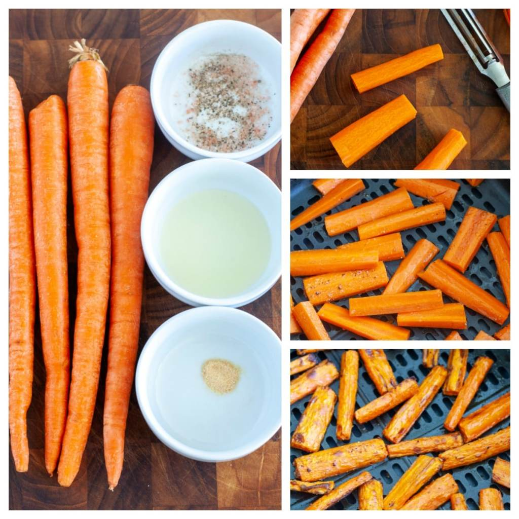 Carrots, oil, garlic powder, salt and pepper, in the air fryer