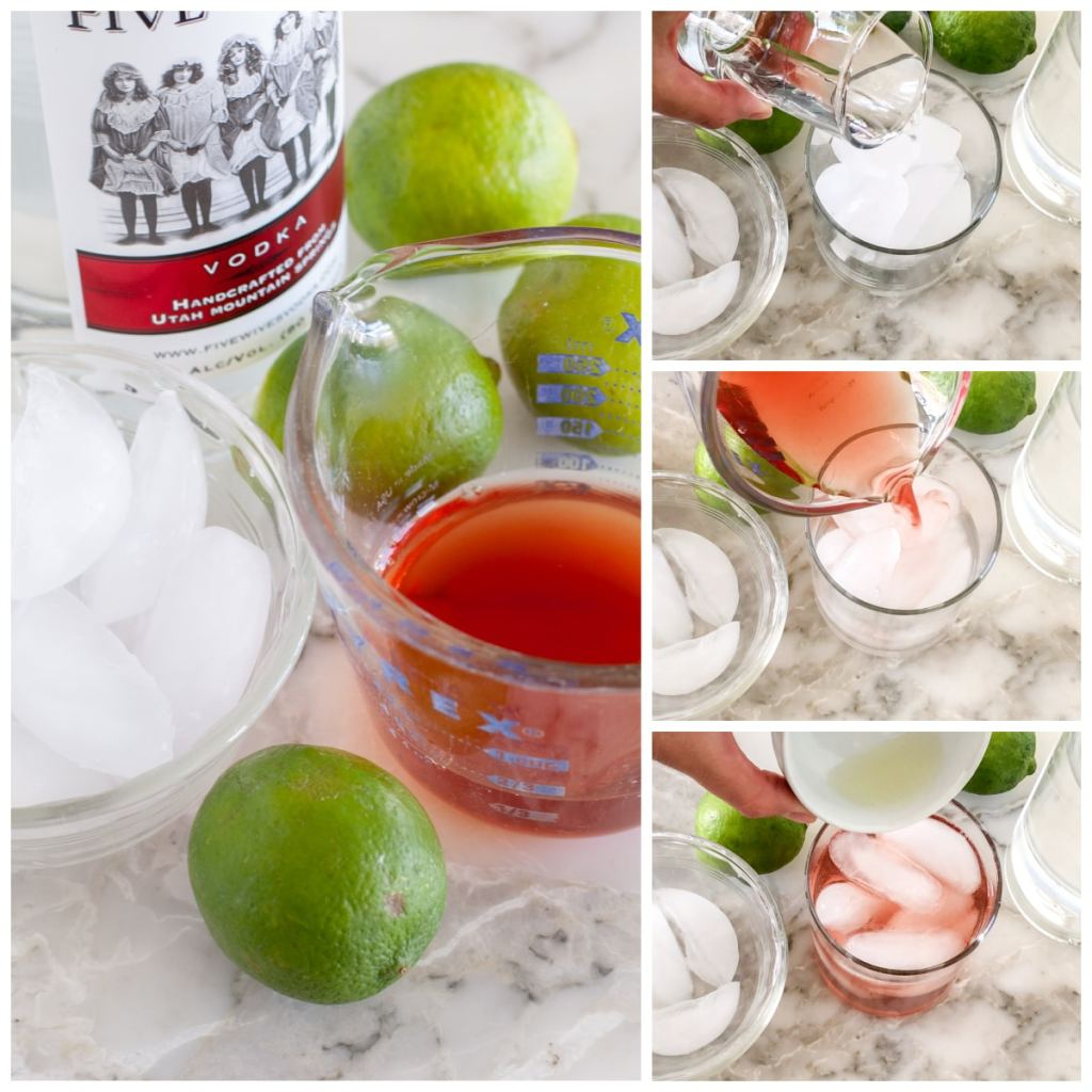 Cranberry juice, vodka, lime juice