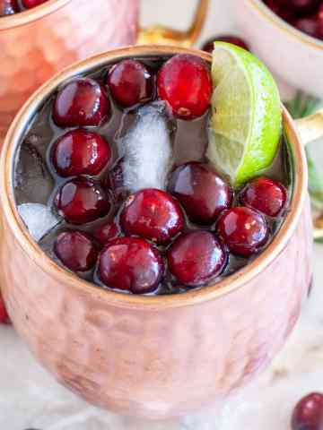 Moscow Mule in a copper cup with cranberries